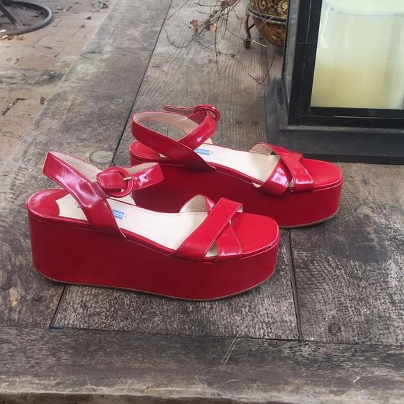 Prada Shoes | Red Platform Sandals Size